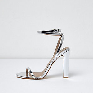 Silver faux leather ankle tie sandal