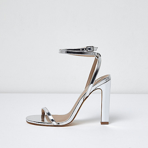 Silver ankle tie sandal