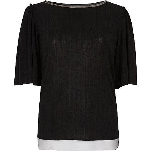 Black frill contrast hem top