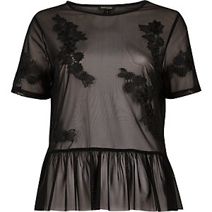 Black applique mesh frill top