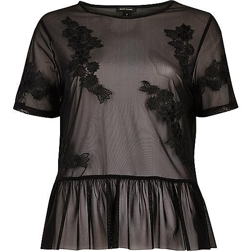 Black applique mesh frill top