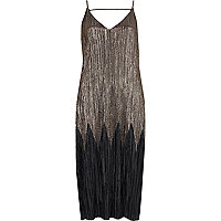 Zwart en grijze plissé midi-jurk