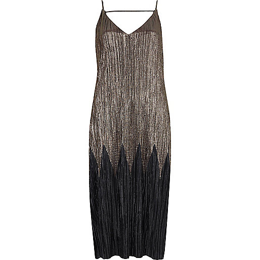 Black and grey pleated midi dress