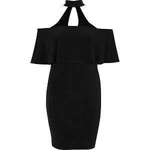 Black choker deep frill bodycon dress