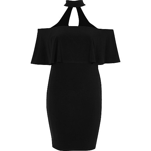 Black choker deep frill bodycon dress