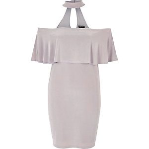 Light grey choker deep frill bodycon dress