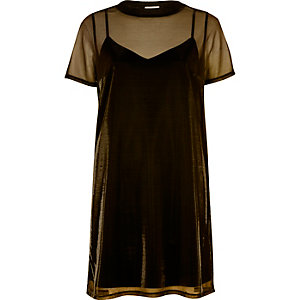 Gold metallic mesh 2 in 1 dress