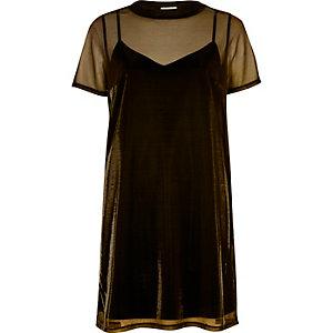 Gold metallic mesh 2 in 1 dress