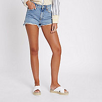 Blue frayed hem high rise denim shorts