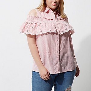 Plus red stripe cold shoulder frill shirt