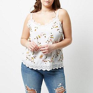Plus – Weißes Camisole mit Blumenstickerei