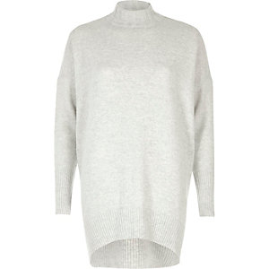 Grey knit oversized turtle neck sweater