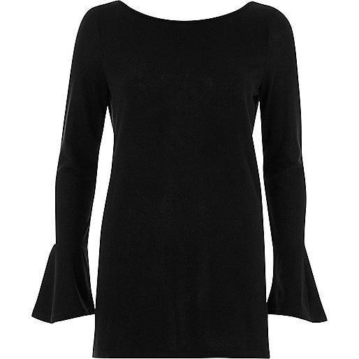 Black flared sleeve top