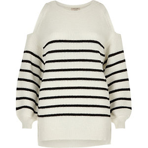White stripe cold shoulder knit sweater