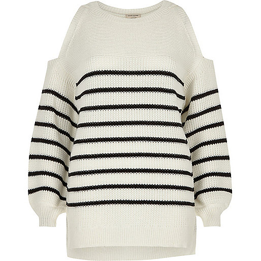 White stripe cold shoulder knit jumper