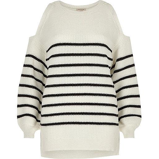 White stripe cold shoulder knit sweater
