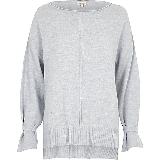 Light blue tied cuff sweater