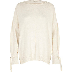Cream tied cuff jumper