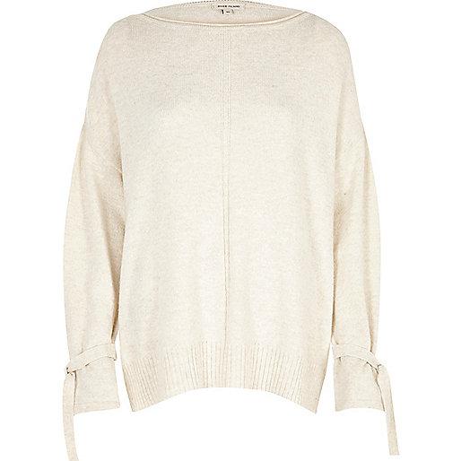 Cream tied cuff sweater