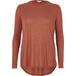 Copper brown basic long sleeve top