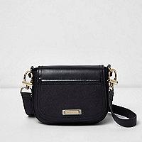 Black mini saddle crossbody bag