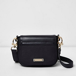 Black mini saddle crossbody bag