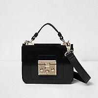 Black lock front mini satchel bag