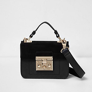 Black lock front mini satchel bag