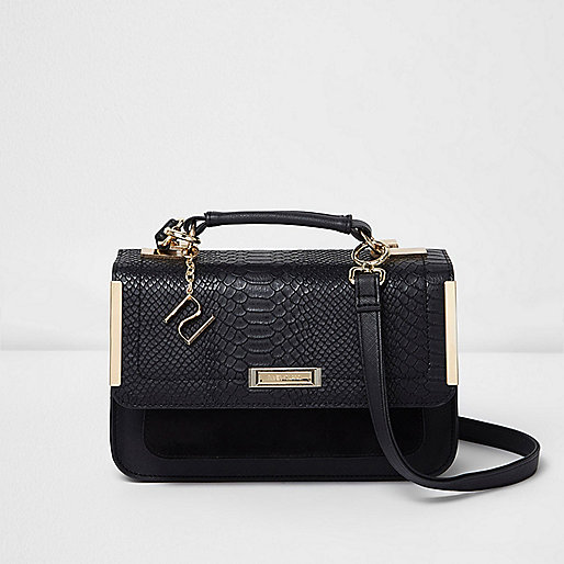 Black embossed mini satchel bag
