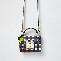 Black gingham cherry embroidery satchel bag