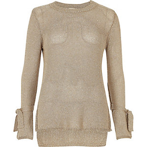 Gold tie cuff textured knit top