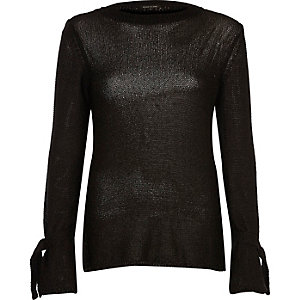 Black tie cuff textured knit top