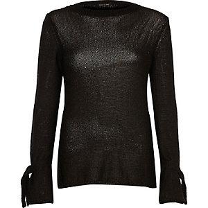 Black tie cuff textured knit top