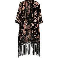 Black floral print tassel kimono