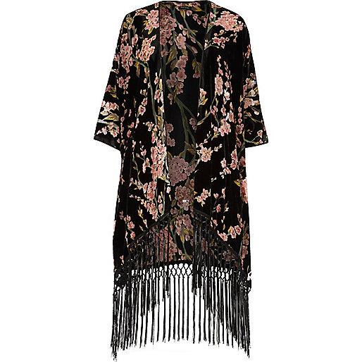 Kimono à fleurs noir avec franges