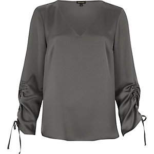 Silky grey gathered sleeve top