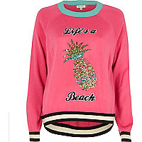Pink knit pineapple sequin sweater