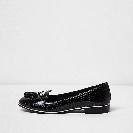 Zwarte lakleren loafers met reliëf