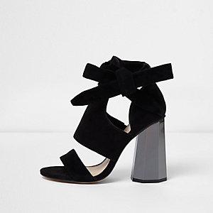 Black tie up graphic heel sandals