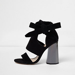 Black tie up graphic heel sandals