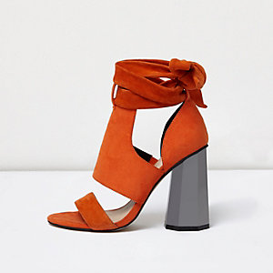 Orange tie up graphic heel sandals