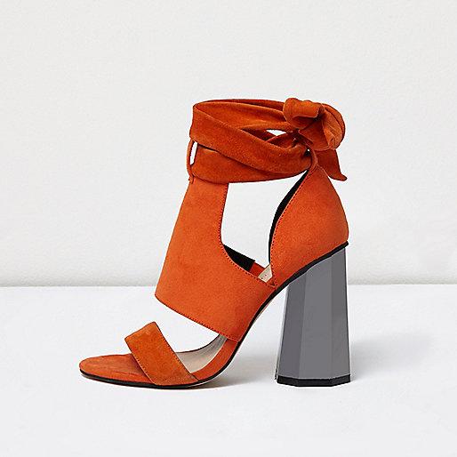 Orange tie up graphic heel sandals