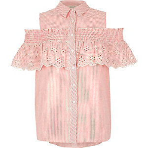 Red stripe frill cold shoulder shirt