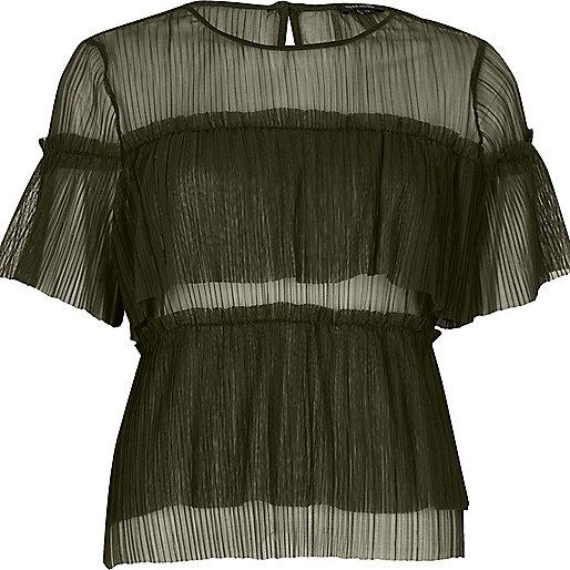 Khaki green mesh frill top
