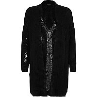 Black ribbed knit long cardigan