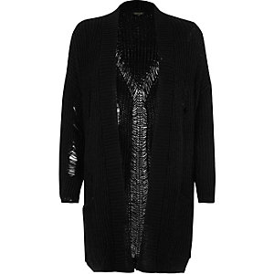 Black oversized ladder knit cardigan