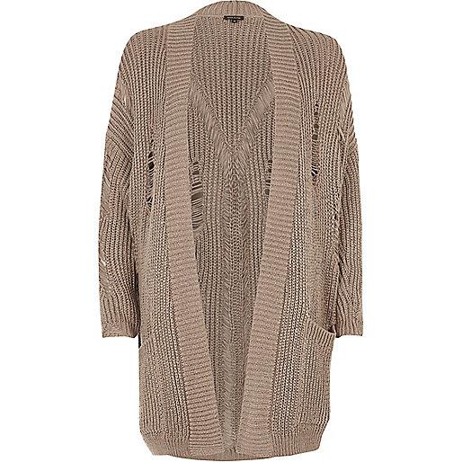 Grey ribbed knit long cardigan