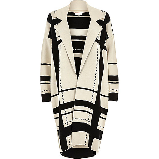 Cream check longline knit cardigan