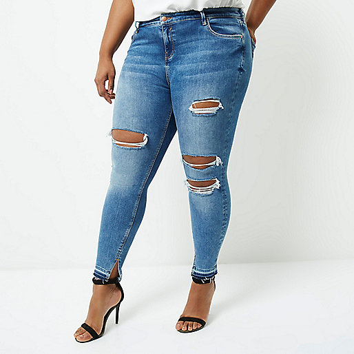 Plus mid blue Amelie super skinny jeans