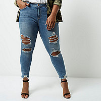 Plus blue frayed Alannah relaxed skinny jeans